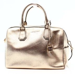 Michael Kors Gold Pebble Leather Mercer Duffle Satchel Bag Purse - GOLDS - STYLE