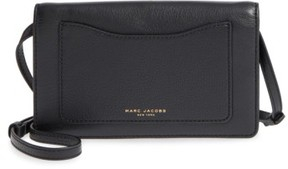 Marc Jacobs Women's 'Recruit' Pebbled Leather Crossbody Wallet - Black