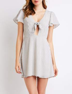 Charlotte Russe Striped Cut Out Skater Dress