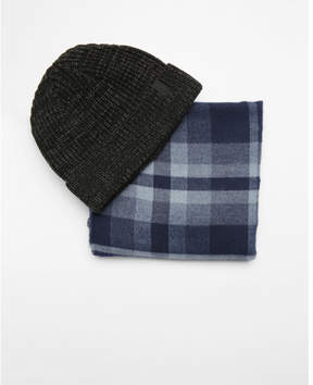 Express blue and gray plaid scarf and beanie set