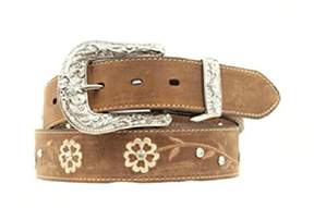 Ariat A1510202-S 1.5 in. Womens Floral Embroidered Rhinestone Belt, Brown - Small