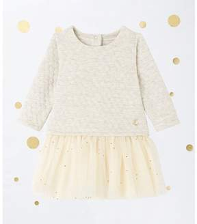 Petit Bateau Baby girl's 2-in-1 quilted double knit dress