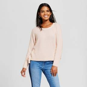 Cliche Women's Side Lace-Up Sweater Pink