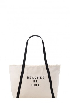 Beaches Be Like Canvas Tote