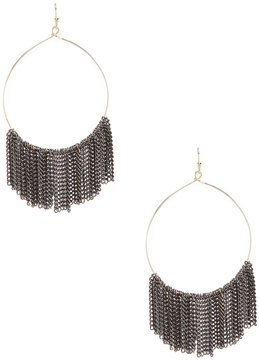Anna & Ava Chain-Fringed Drop Hoop Earrings