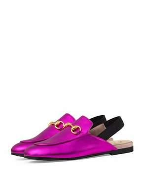 Gucci Princetown Junior Leather Horsebit Mule Slide, Kids' Sizes 10T-2Y