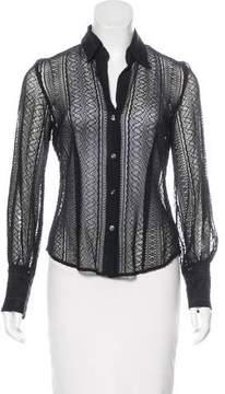 Laundry by Shelli Segal Embroidered Button-Up Top