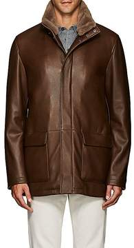 Loro Piana Men's Voyager Fur-Trimmed Leather Coat