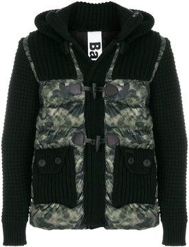 Bark knit-panelled padded coat