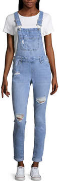 Almost Famous Blue Spice Destructed Overalls-Juniors