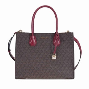 Michael Kors Large Mercer Logo Tote - Brown / Mulberry - ONE COLOR - STYLE