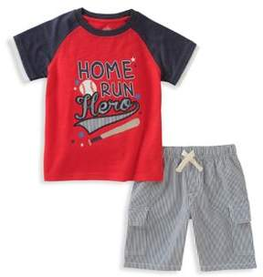 Kids Headquarters Little Boy's Two-Piece Graphic Print Tee and Drawstring Shorts Set