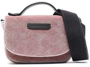 Brunello Cucinelli Leather-Trimmed Quilted Velvet Shoulder Bag