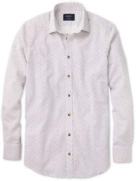 Charles Tyrwhitt Extra Slim Fit White and Pink Square Print Cotton/linen Casual Shirt Single Cuff Size Large
