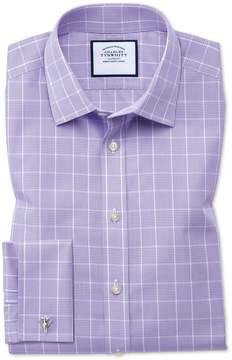 Charles Tyrwhitt Slim Fit Non-Iron Prince Of Wales Lilac Cotton Dress Shirt French Cuff Size 15.5/33