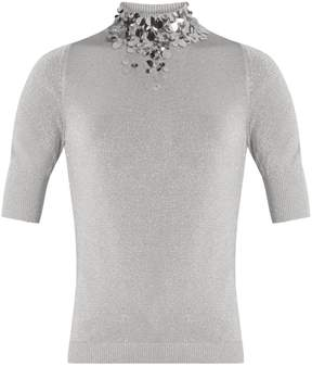 DELPOZO Embellished-neck knit top