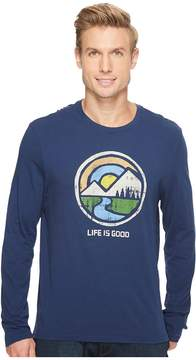 Life is Good Color Block Mountains Long Sleeve Smooth Tee Men's Long Sleeve Pullover