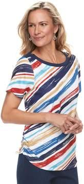 Alfred Dunner Women's Studio Diagonal Stripe Top