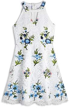 Us Angels Girls' Embroidered Floral Lace Dress - Big Kid
