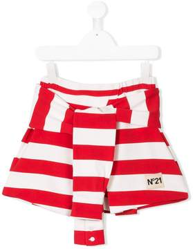 No.21 Kids striped branded skirt
