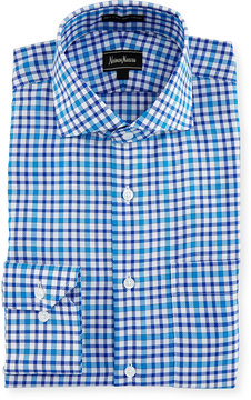 Neiman Marcus Classic-Fit Oxford Check Dress Shirt, Blue