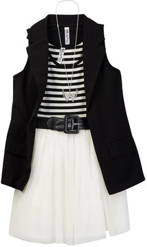 Beautees Belted Dress & Long Vest Set with Necklace (Big Girls)