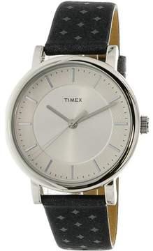 Timex TW2R11800 Silver Leather Quartz Fashion Watch