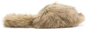 Simone Rocha Brown Faux-Fur Bow Mules