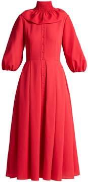 Emilia Wickstead Hilary shirred-neck balloon-sleeved dress