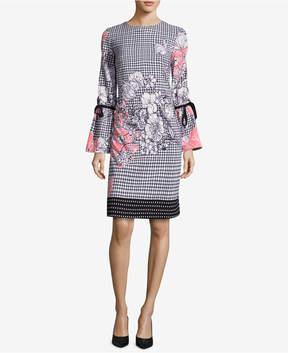 ECI Printed Bell-Sleeve Sheath Dress