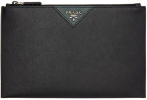Prada Black and Green Saffiano Zip Pouch