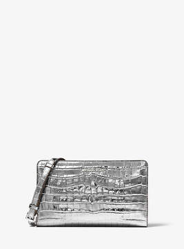 Michael Kors Jet Set Travel Metallic Embossed-Leather Crossbody Clutch - GUNMETAL - STYLE