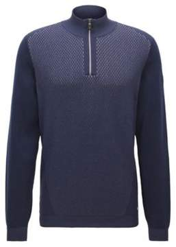 BOSS Hugo Cotton Blend Half-Zip Sweater Zokia L Dark Blue