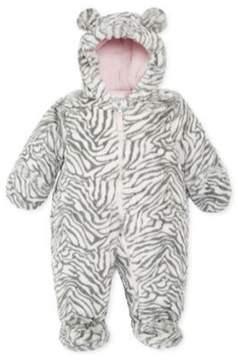 Carter's Infant Girls Plush Gray & White Zebra Snowsuit Baby Pram Snow Suit 24m
