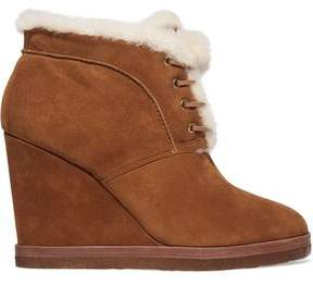 Michael Kors Chadwick Shearling-Trimmed Suede Wedge Boots