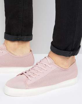 Asos Lace Up Sneakers In Pink Mesh