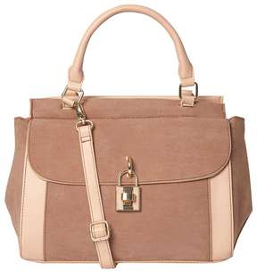 Nude Top Handle Lock Tote Bag