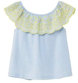 MANGO Openwork ruffle blouse