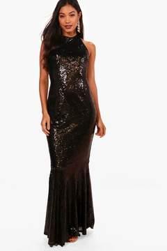boohoo Boutique Sequin Open Back Maxi Dress
