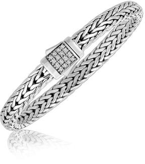 Ice Sterling Silver Braided Style Men's Bracelet with White Sapphire Stones