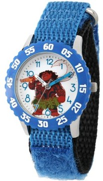 Disney Moana and Maui Boys' Stainless Steel Time Teacher Watch with Blue Bezel, Blue Hook and Loop Nylon Strap with Black Backing