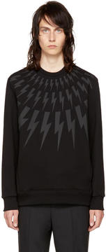 Neil Barrett Black and Grey Fairisle Thunderbolt Sweatshirt