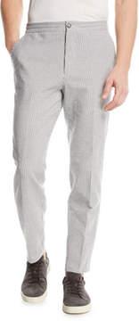 Ermenegildo Zegna Striped Seersucker Straight-Leg Pants