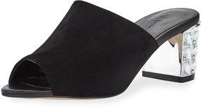 Neiman Marcus Carly Embellished-Heel Suede Mule, Black