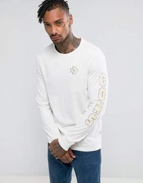 Converse Cons Wordmark Long Sleeve T-Shirt In White 10004769-A02