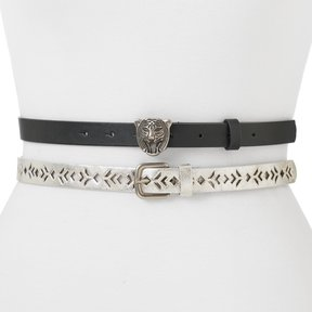 Mudd Women's Geometric Perforated 2-for-1 Tiger Buckle Belt Set