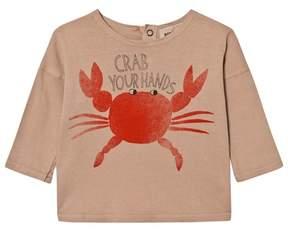 Bobo Choses Warm Beige Crab Your Hands Print T-Shirt