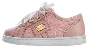 Dolce & Gabbana Girls' Leather Sequin-Embellished Sneakers