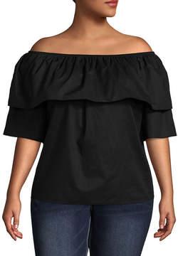 Boutique + + Elbow Sleeve Off the Shoulder Woven Blouse - Plus