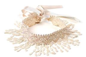 Amrita Singh Ivory Lace Fringe-Accent Pipa Choker Necklace